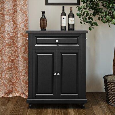 Celeste Kitchen Cart with Granite Top Base Finish: Black