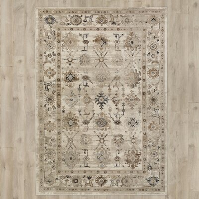 Broadview Beige Area Rug Rug Size: 78 x 106