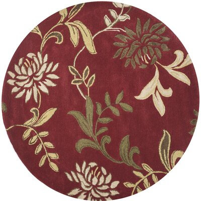 Adkisson Red Floral Area Rug Rug Size: 36 x 56