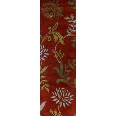 Adkisson Red Floral Area Rug Rug Size: Runner 23 x 76