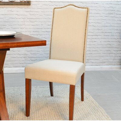 Maelynn Parsons Chair Upholstery Type: Faux Leather - Gray, Finish: Espresso