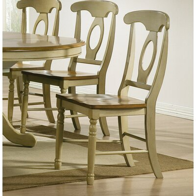 Corell Park Solid Wood Dining Chair (Set of 2) Finish: Almond / Green