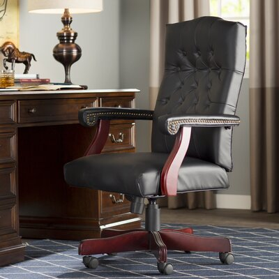 Kirkland High-Back Leather Executive Chair Upholstery: Black