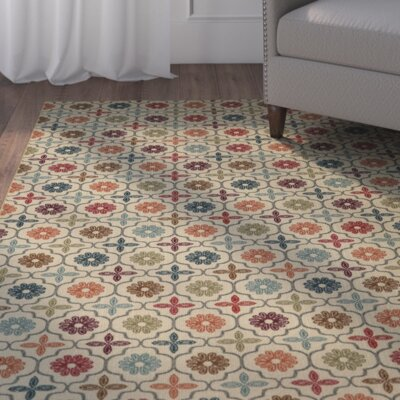 Harewood Nadine Celine Tile Tan/Blue Area Rug Rug Size: Rectangle 5' x 7'