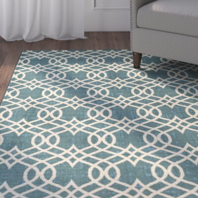 Hardenburgh Aqua/Beige Area Rug Rug Size: Rectangle 8 x 10