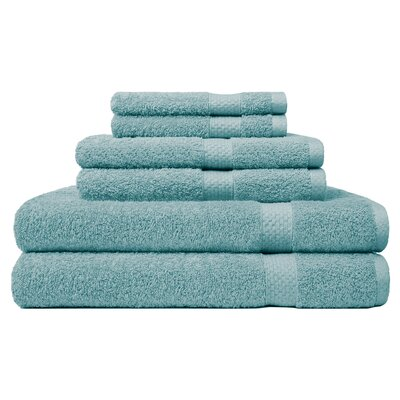 6 Piece Ring Spun Towel Set Color: Sea Mist