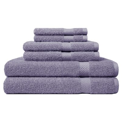 6 Piece Ring Spun Towel Set Color: Lavender