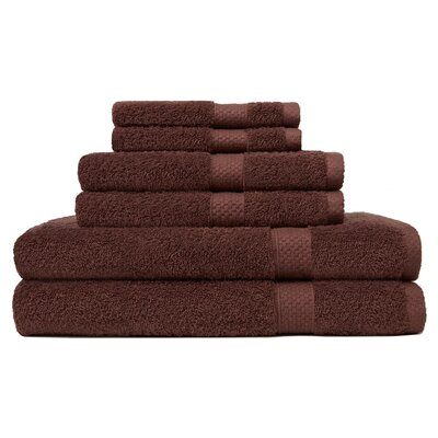 6 Piece Ring Spun Towel Set Color: Mink