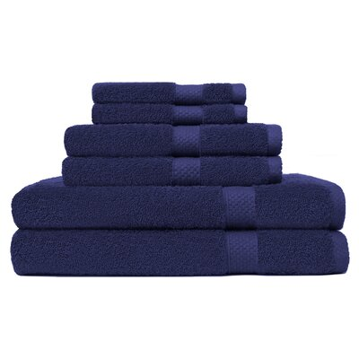 6 Piece Ring Spun Towel Set Color: Navy