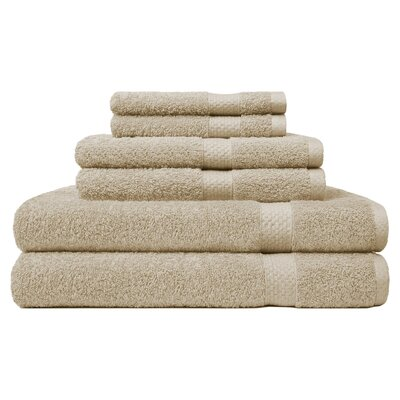 6 Piece Ring Spun Towel Set Color: Khaki