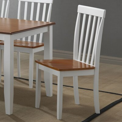 Hardcastle Slat Back Side Chair Finish: White / Honey Oak