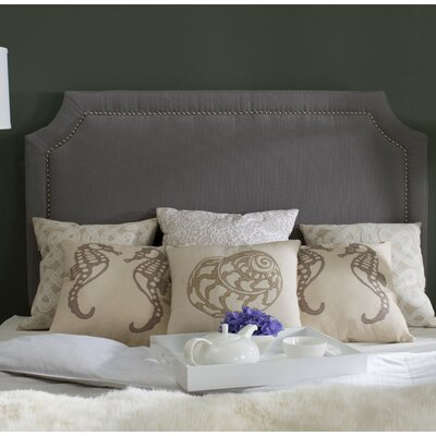 Millington Silver Nailhead Upholstered Panel Headboard Size: Full, Color: Hemp, Upholstery: Linen