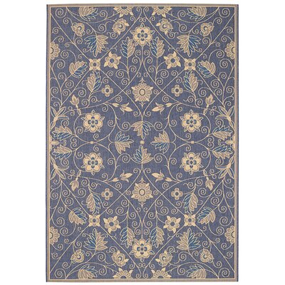 Birchover Garden Maze Blue Indoor/Outdoor Area Rug Rug Size: 53 x 76