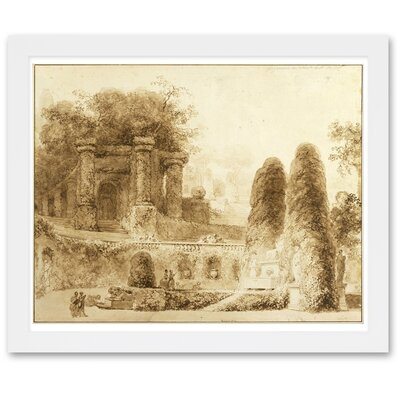 Roman Park with Fountain Framed Painting Print Size: 17