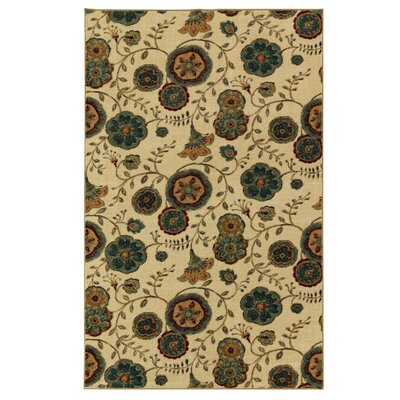 Sisson Beige/Green Area Rug Rug Size: 5 x 8