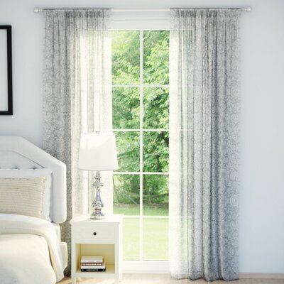 Smither Nature/Floral Semi-Sheer Curtain Panels Color: Silver