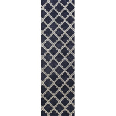Hinckley Hand-Tufted Navy Area Rug Rug Size: Runner 26 x 8