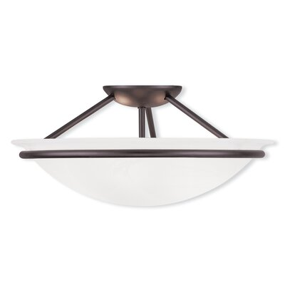 Larchmont 2-Light Semi Flush Mount Size: 7 H x 16 W, Finish: Bronze