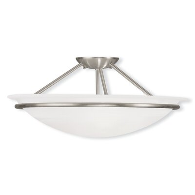 Larchmont 2-Light Semi Flush Mount Finish: Brushed Nickel, Size: 8 H x 20 W