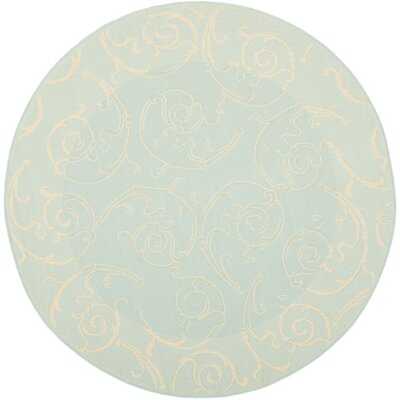 Bexton Aqua/Cream Indoor/Outdoor Rug Rug Size: Round 67