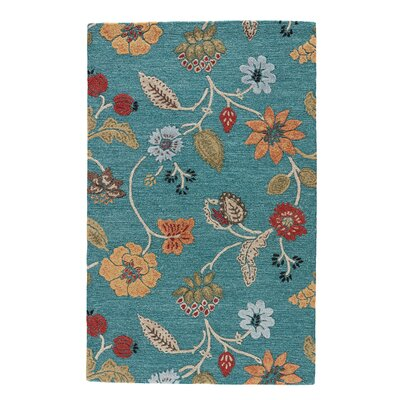 Silver Creek Blue/Red Floral Area Rug Rug Size: 5 x 8