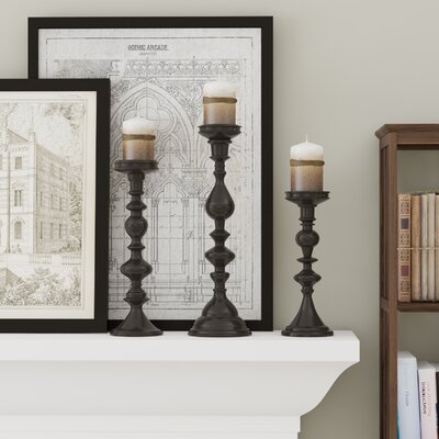 Essential 3 Piece Candle Holder Set Color: Black