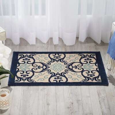 Carleton Ivory/Navy Indoor/Outdoor Area Rug Rug Size: 39 x 59