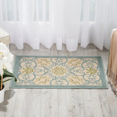 Carleton Ivory/Blue Indoor/Outdoor Area Rug Rug Size: 710 x 106