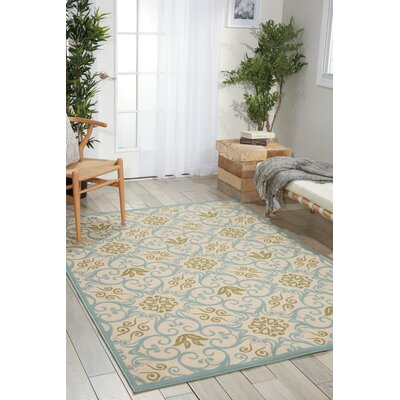 Carleton Ivory/Blue Indoor/Outdoor Area Rug Rug Size: 39 x 59