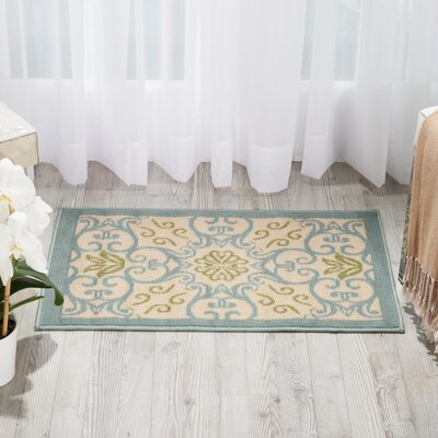 Carleton Ivory/Blue Indoor/Outdoor Area Rug Rug Size: 19 x 29