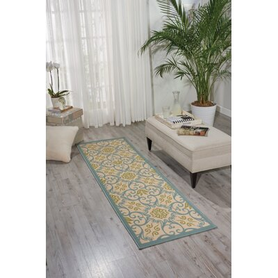 Carleton Ivory/Blue Indoor/Outdoor Area Rug Rug SIze: Rectangle 23 x 76