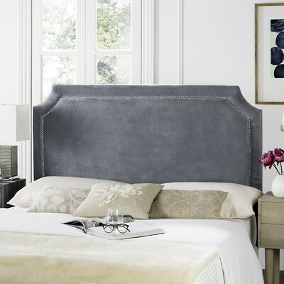 Laurie Upholstered Panel Headboard Color: Grey, Size: Queen, Upholstery: Velvet