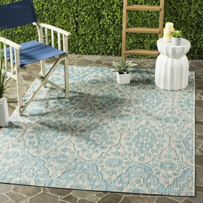 Regal Gray/Aqua Area Rug Rug Size: 53 x 77