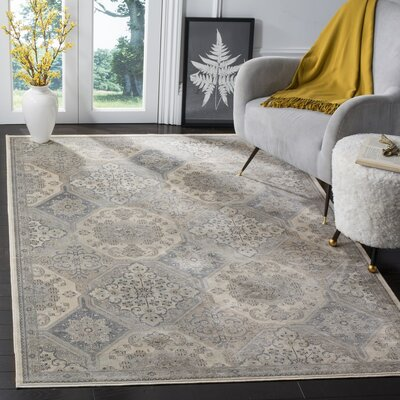 Pitcairn Cream/Blue Area Rug Rug Size: 53 x 76