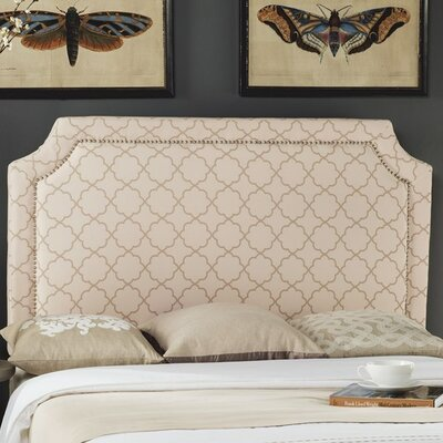 Millington Upholstered Panel Headboard Pale Pink / Beige Size: Full, Color: Pale Pink / Beige, Upholstery: Linen