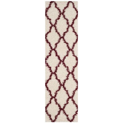 Brentwood Beige/Red Area Rug Rug Size: Runner 23 x 8