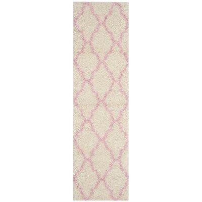 Brentwood Beige/Pink Area Rug Rug Size: Runner 23 x 8