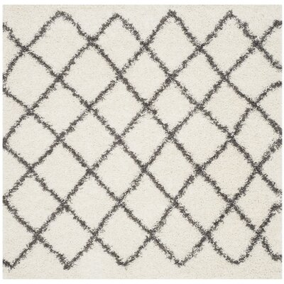 Laurelville Ivory / Dark Gray Area Rug Rug Size: Square 6