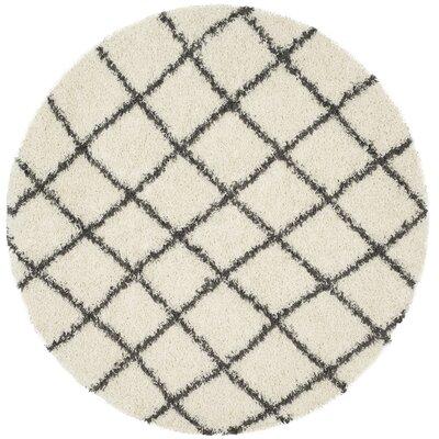 Laurelville Ivory / Dark Gray Area Rug Rug Size: Round 6