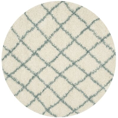 Laurelville Ivory / Seafoam Area Rug Rug Size: Round 6