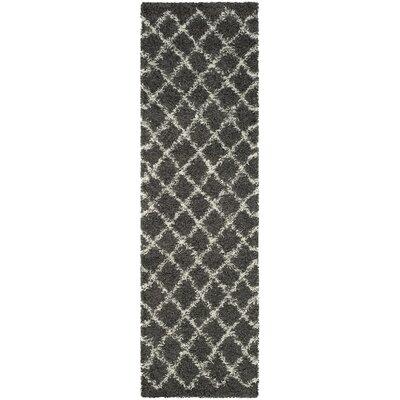 Laurelville Dark Gray/Ivory Area Rug Rug Size: Runner 23 x 8