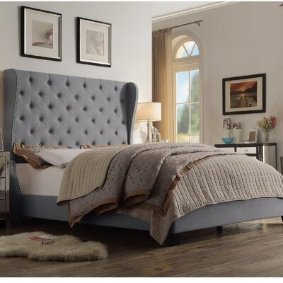 Amir Upholstered Panel Bed Size: King, Color: Grey