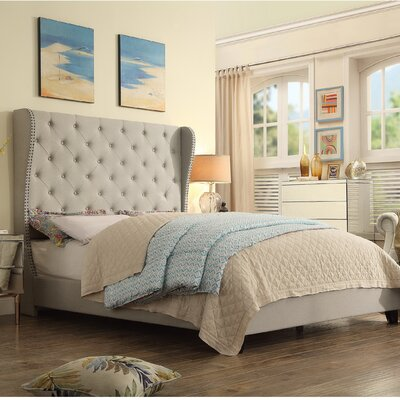 Amir Upholstered Panel Bed Upholstery: Beige, Size: King