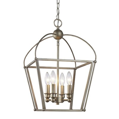 Alvin 4-Light Foyer Pendant Finish: Antique Silver Leaf