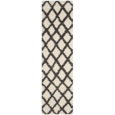 Laurelville Shag Ivory/Gray Area Rug Rug Size: Round 6