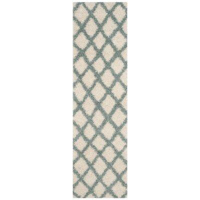 Laurelville Shag Ivory/Seafoam Area Rug Rug Size: 6 x 9