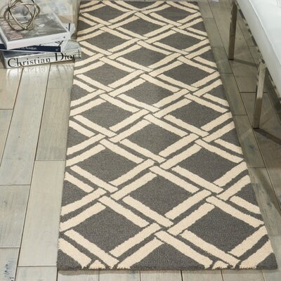 Hulings Hand-Knotted Gray/Ivory Area Rug Rug Size: Rectangle 8 x 11