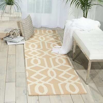 Hulings Hand-Knotted Sand/Ivory Area Rug Rug Size: Runner 23 x 76