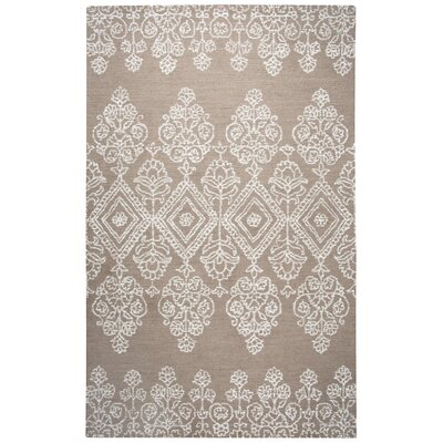 Avoca Hand-Tufted Beige/White Area Rug Rug Size: Rectangle 5 x 8