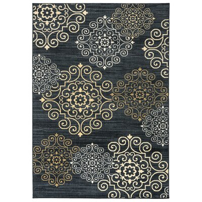 Greenside Blue Area Rug Rug Size: 53 x 77